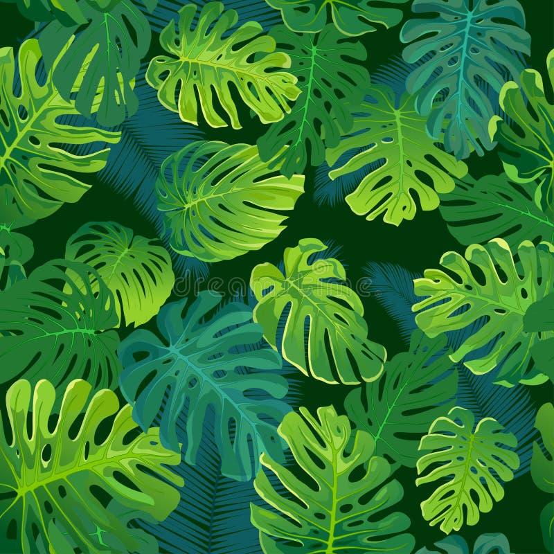 Tropische palm en monsterabladeren, naadloze vector bloemen het patroonachtergrond van het wildernisblad stock afbeeldingen