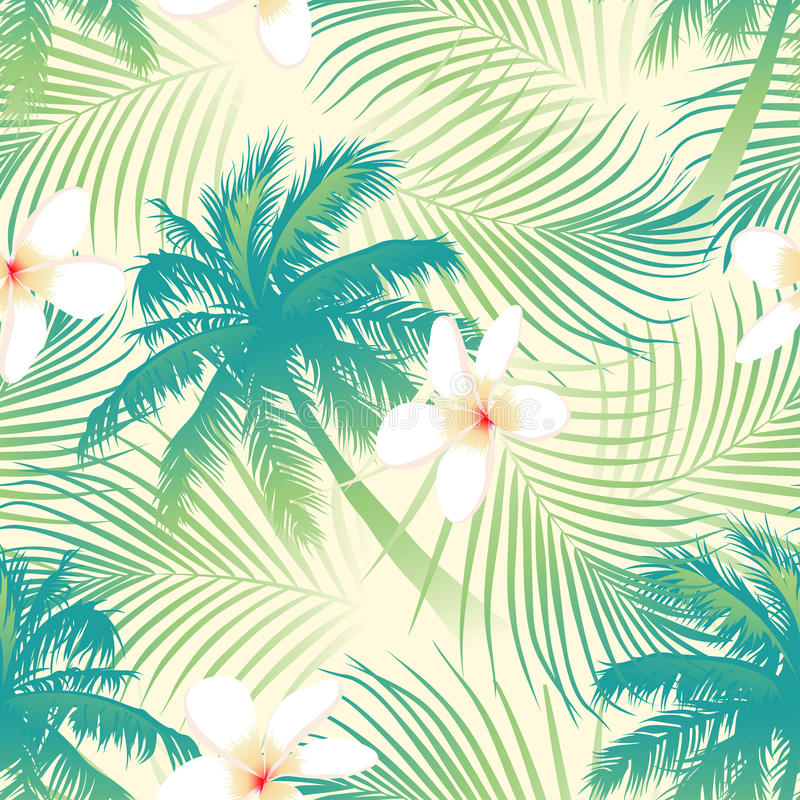 Tropische palm met bloemen naadloos patroon royalty-vrije illustratie
