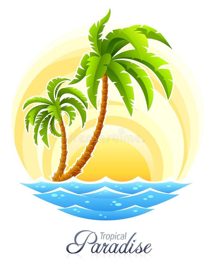 Tropische palm met overzeese golf op zonnige achtergrond vector illustratie