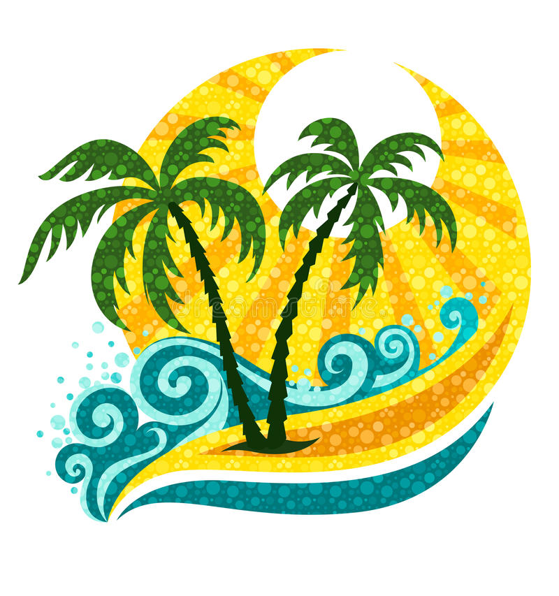 Tropische palm in overzees golven en zonlicht stock illustratie