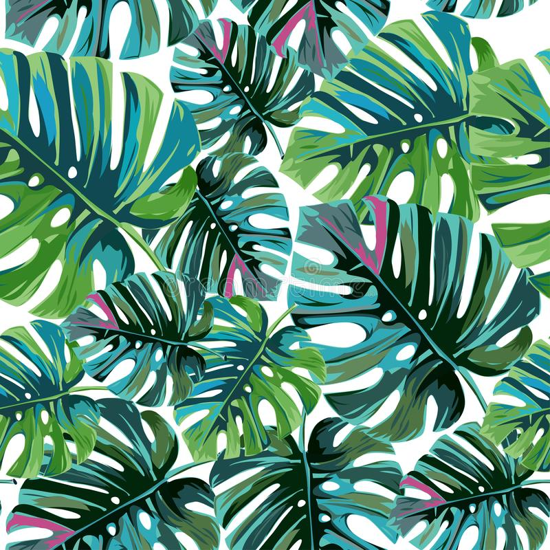 Tropische Palmblätter, Dschungel verlässt nahtlosem Vektor Blumenmuster lizenzfreie abbildung