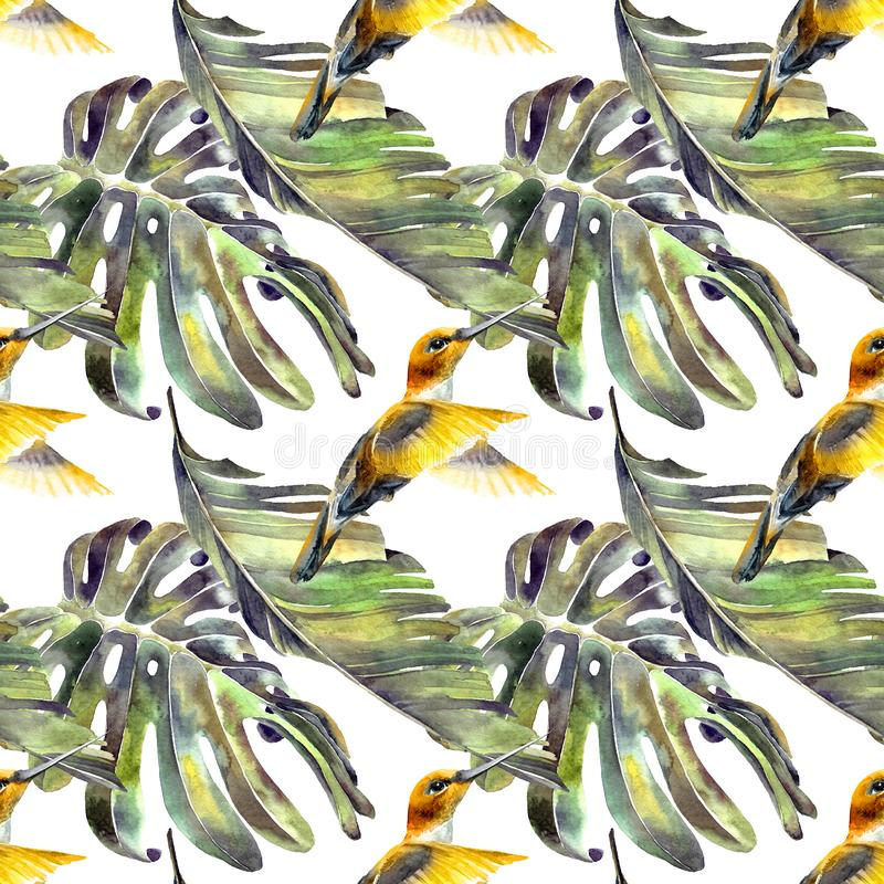 Tropische Palmblätter und fliegender Kolibri lizenzfreie abbildung