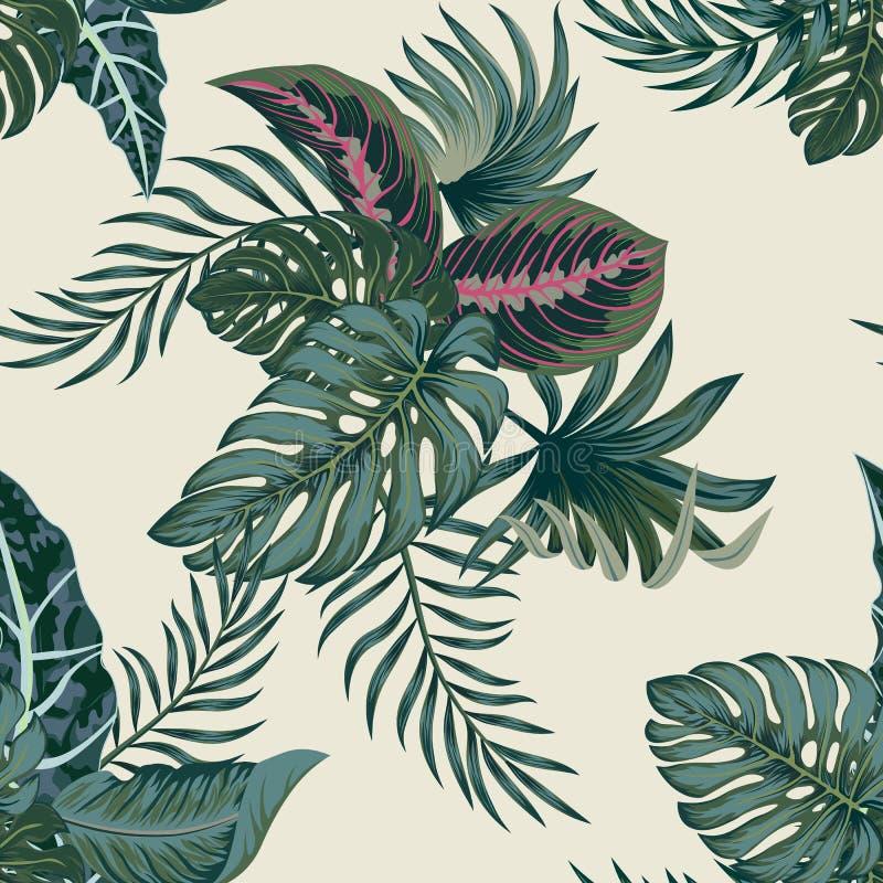 Tropische Palmbl?tter, Dschungel verl?sst nahtlosem Vektor Blumenmuster-Hintergrund vektor abbildung