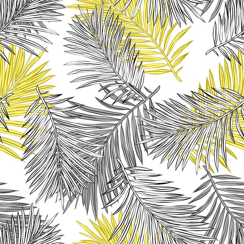 Tropische Palmbl?tter, Dschungel verl?sst nahtlosem Vektor Blumenmuster-Hintergrund stock abbildung