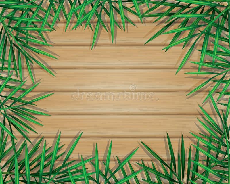 Tropische palmbladen en wildernisinstallaties op houten planken royalty-vrije illustratie