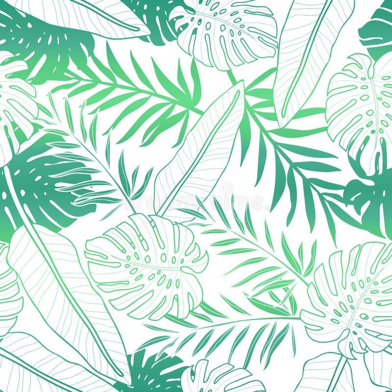 Tropische palmbladen, naadloze vector bloemen het patroonachtergrond van het wildernisblad stock illustratie