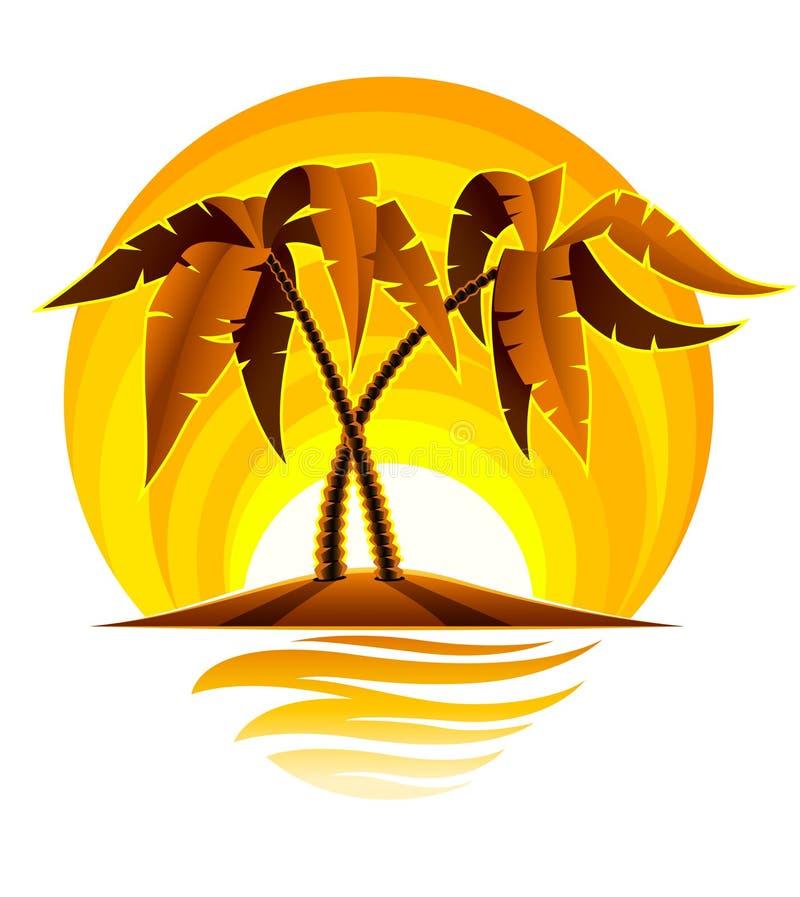 Tropische Palme auf Insel im Ozean mit Sonnenuntergang lizenzfreie abbildung