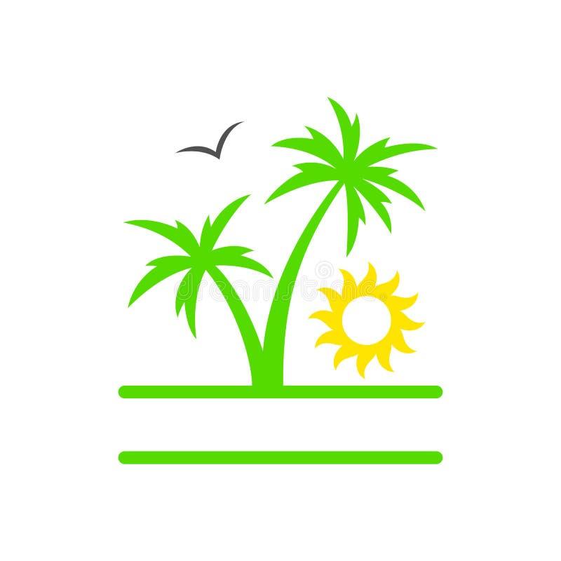 Tropische Palme mit Sonne Brandung, Sand und Steine Sonnenuntergang Palme Schattenbild Auch im corel abgehobenen Betrag vektor abbildung