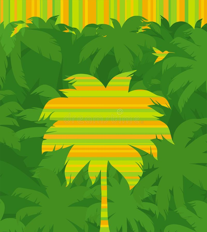 Tropische Palme u. Flugwesenkolibri im Dschungel stock abbildung