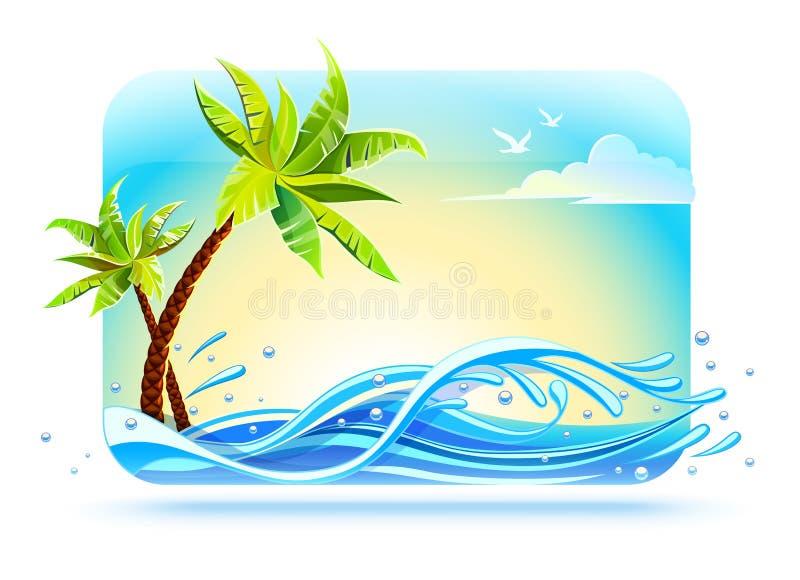 Tropische palmen op strand onder overzeese golven royalty-vrije illustratie