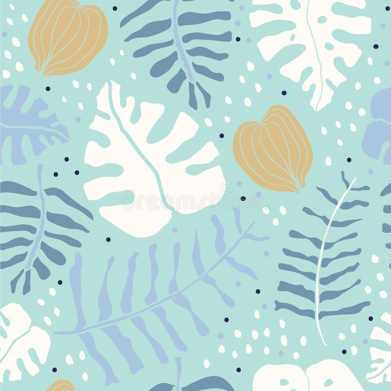 Tropische palmmonstera verlaat naadloos patroon royalty-vrije illustratie