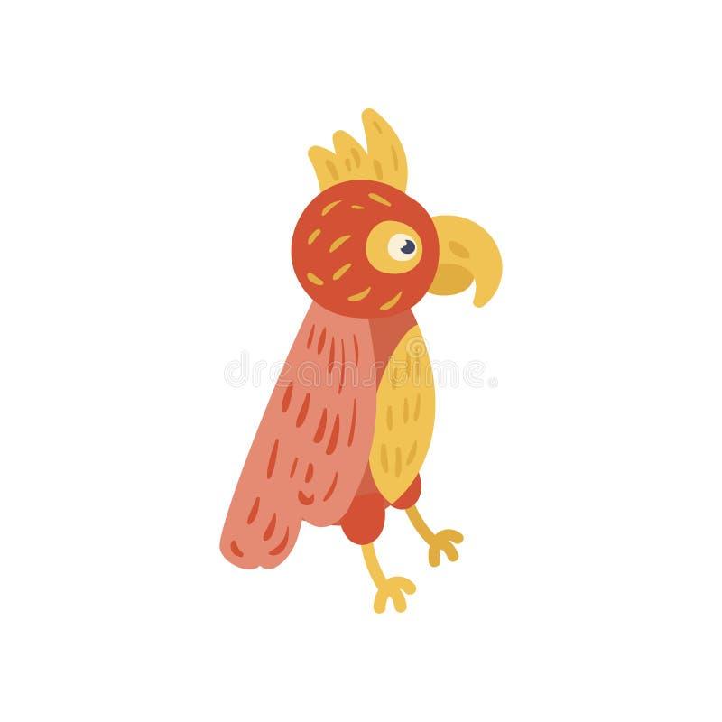 Tropische papegaai met rode en gele veren Beeldverhaalkarakter van exotische vogel Dierentuinconcept Vlak vectorontwerp voor royalty-vrije illustratie