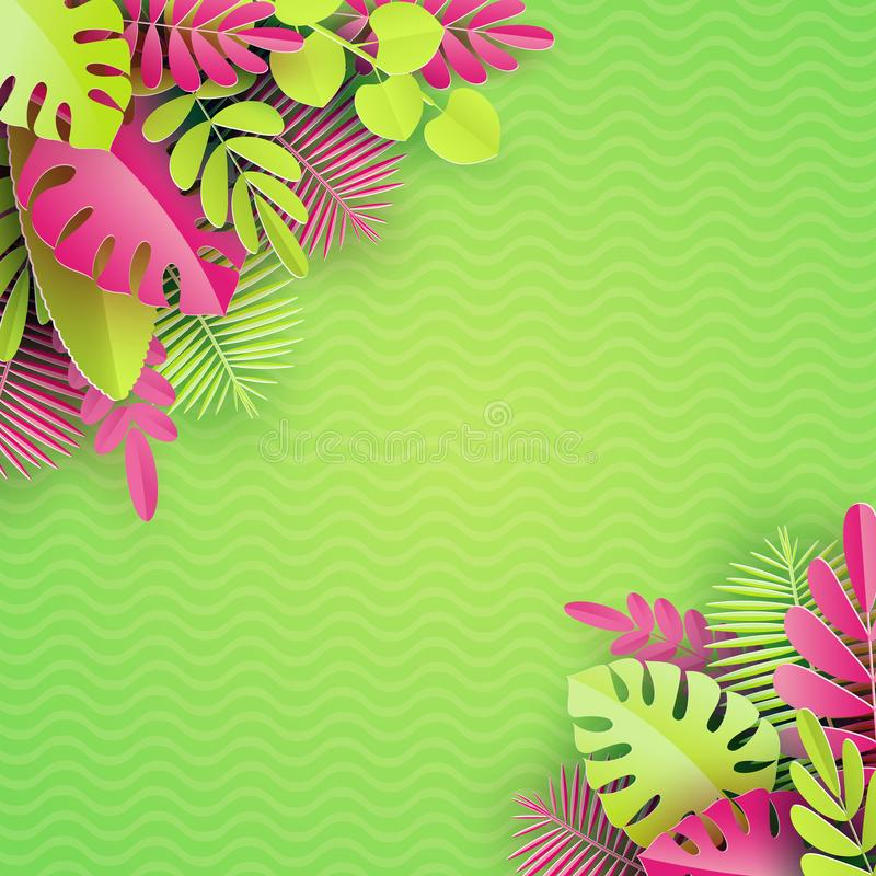 Tropische Papierpalme, monstera verlässt Rahmen Sommer-tropisches Blatt Exotischer hawaiischer Dschungel des Origamis, Sommerzeit lizenzfreie abbildung