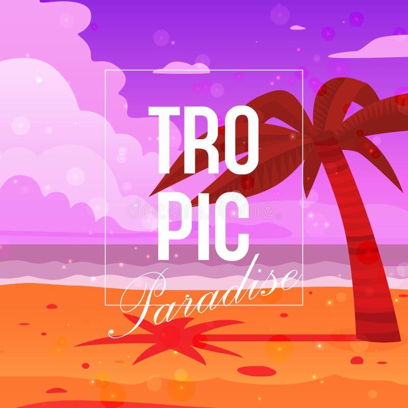 Tropische Paradieshintergrundfahnen-Vektorillustration Palme auf Strand nahe Ozean Sand, blauer Himmel und Meereswellen stock abbildung