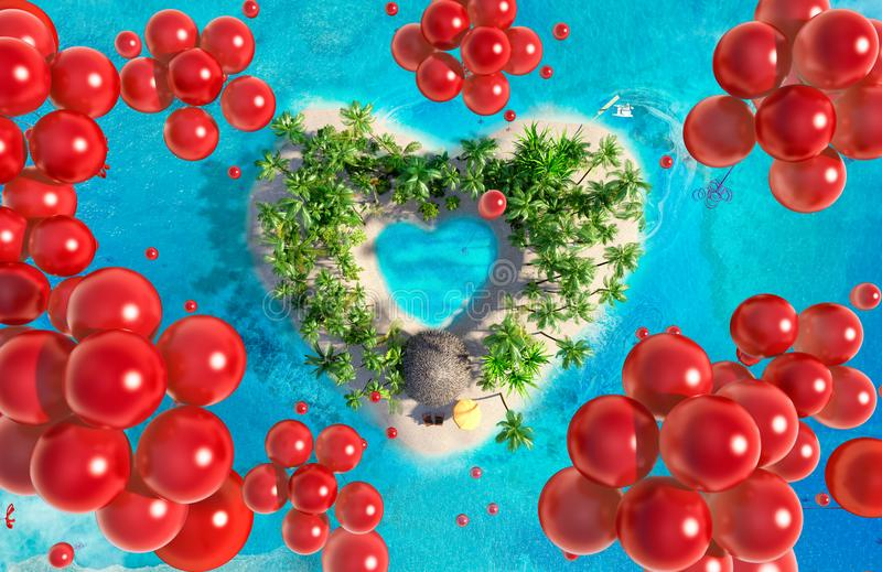 Tropische Paradiesinsel in Form von Herzen mit dem Fliegen von roten Ballonen stock abbildung