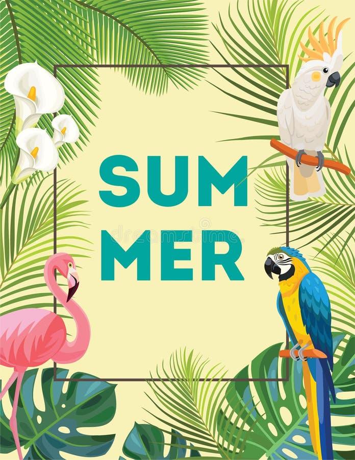 Tropische Postkarte mit Vögeln vektor abbildung