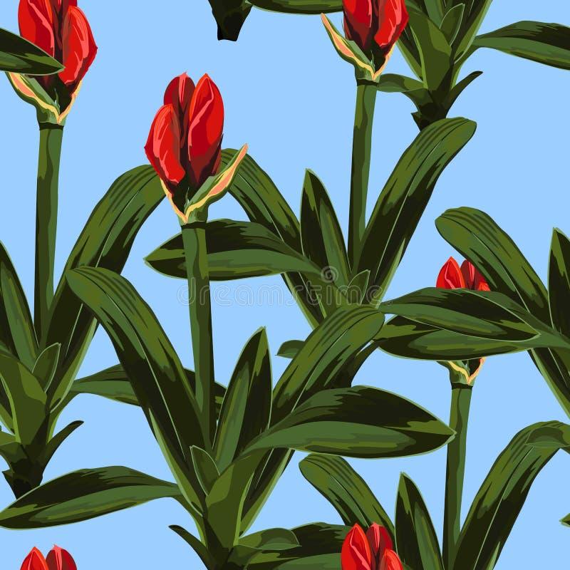Tropische rote Lilienknospenblumen mit Blättern, blauer Hintergrund Nahtloses mit Blumenmuster vektor abbildung