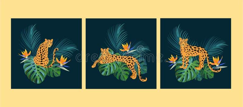 Tropische Schablonen mit Leoparden Photorealistic Ausschnittskizze Kann f?r Fahne, Plakat, Karte, Postkarte und bedruckbares verw lizenzfreie abbildung