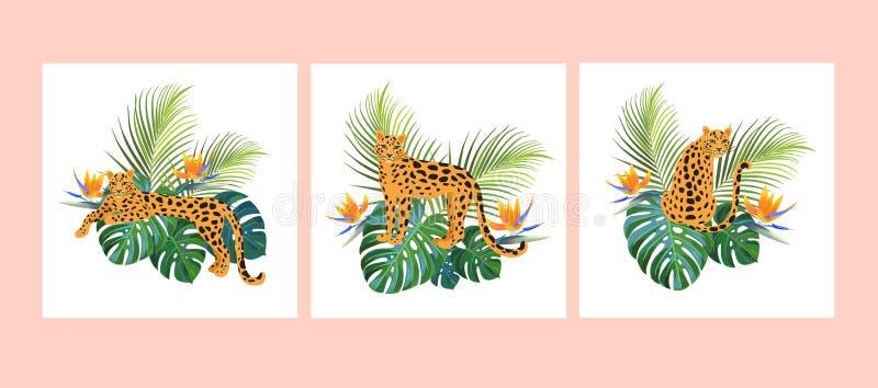 Tropische Schablonen mit Leoparden Photorealistic Ausschnittskizze Kann f?r Fahne, Plakat, Karte, Postkarte und bedruckbares verw vektor abbildung