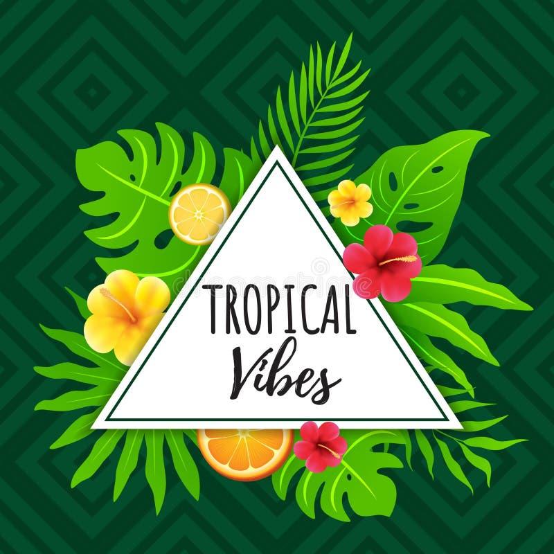 Tropische Schwingungen mit abstraktem geometrischem und Stammes- Hintergrund stock abbildung