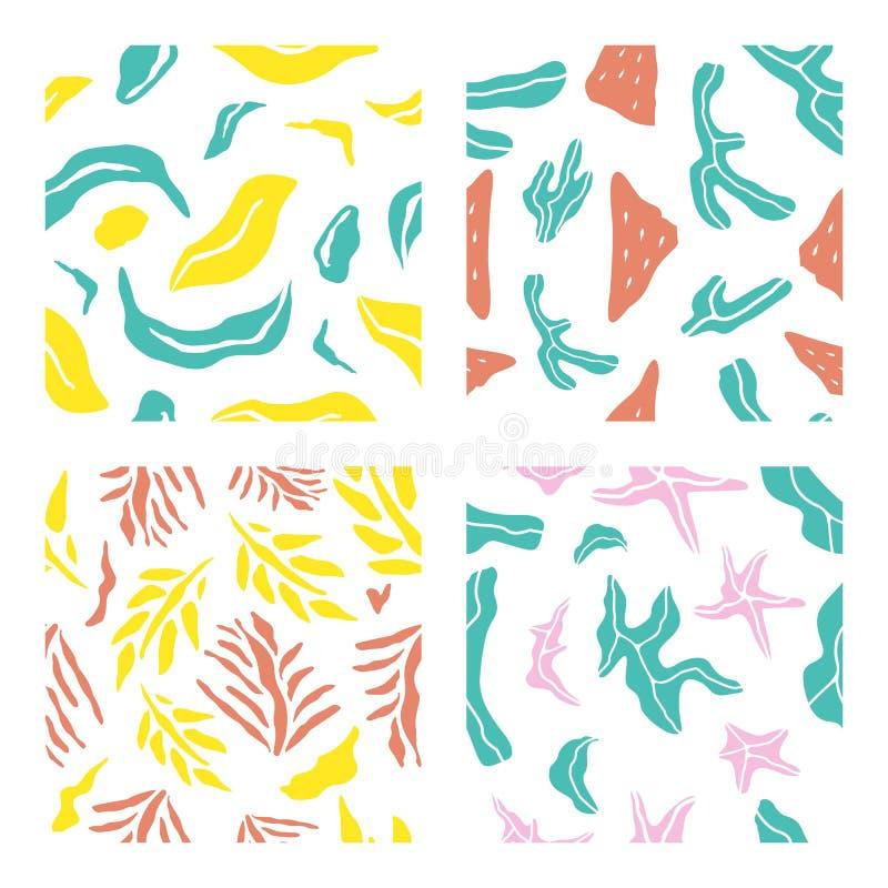 Tropische seamsless patroonbundel 1 stock illustratie