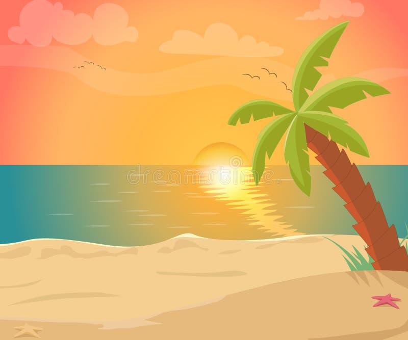 Tropische Seeinsel mit Palmen und Sonne vektor abbildung