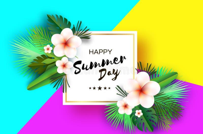 Tropische Sommer-Palmblätter, Anlagen, blüht Frangipani - Plumeria Exotische Papierschnittkunst hawaiianer Quadratisches Rahmen f stock abbildung