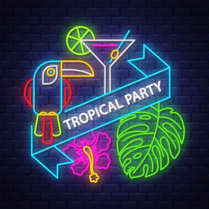 Tropische Sommerferienfahne Neonfahne vektor abbildung