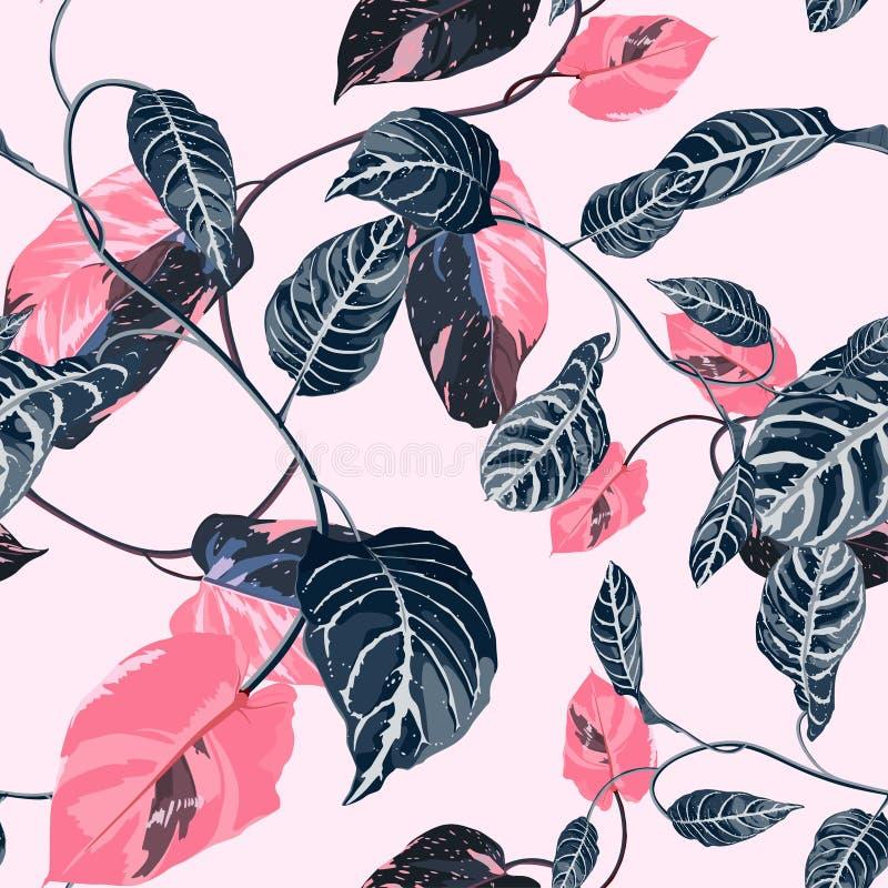 Tropische Sommermalerei nahtlos Muster mit exotisch blauen Lilienzweig vektor abbildung