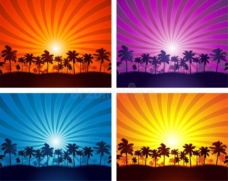 Tropische Sommersonnenuntergang-Palmeschattenbilder lizenzfreie abbildung
