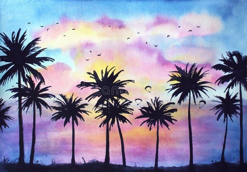 Tropische Sonnenuntergang-Landschaft stock abbildung