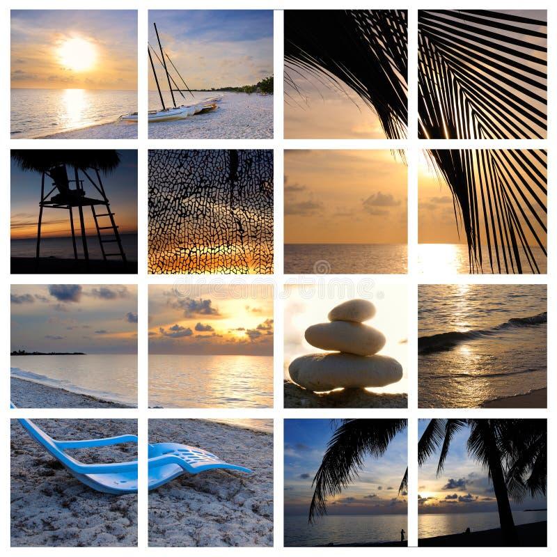 Tropische Sonnenuntergangstrandcollage stockfoto