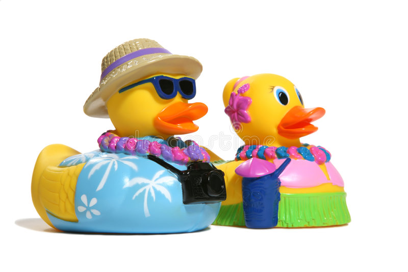 Tropische Spielzeug-Enten stockbild