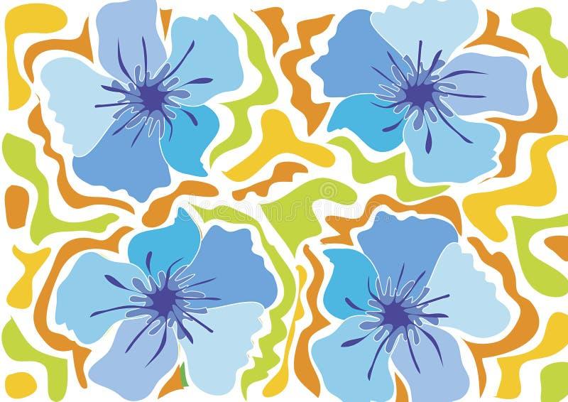 Tropische strandbloem - blauw vector illustratie
