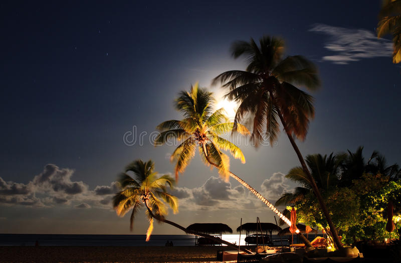 Tropische strandtoevlucht bij nacht. stock foto