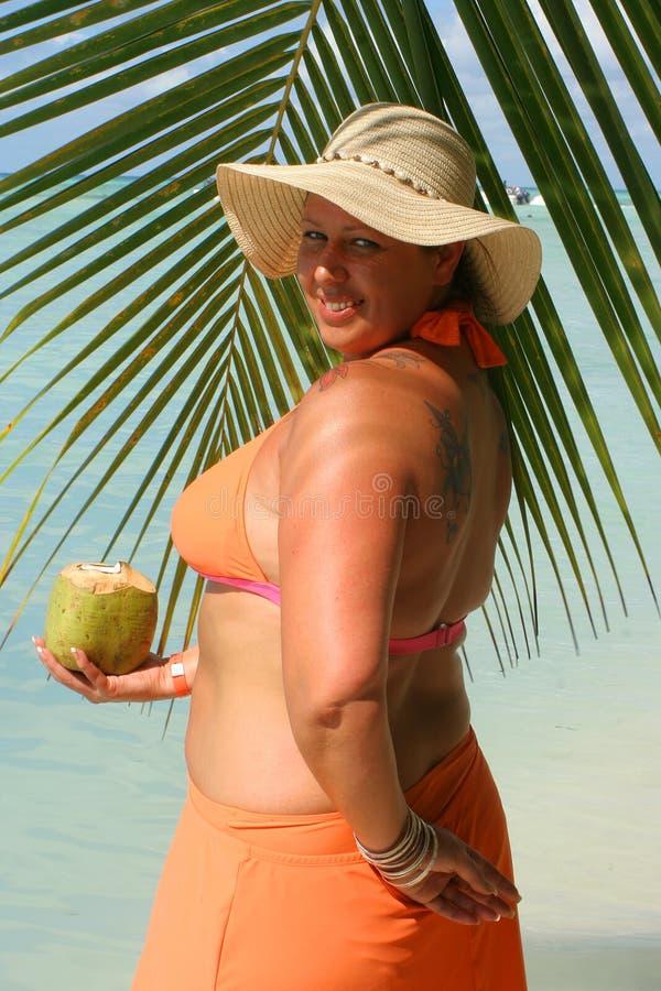 Tropische strandvrouw royalty-vrije stock foto's