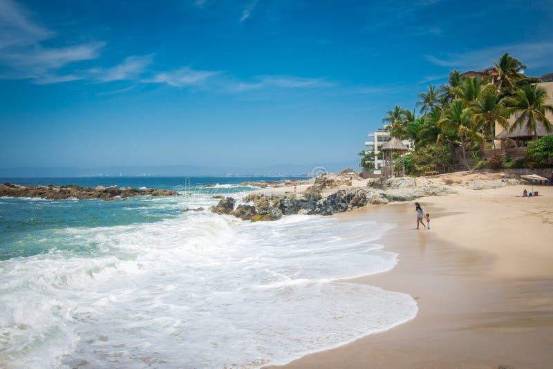 Tropische toevlucht Puerto Vallarta Beste strand in Mexico Vreedzame OceaanMening stock foto's