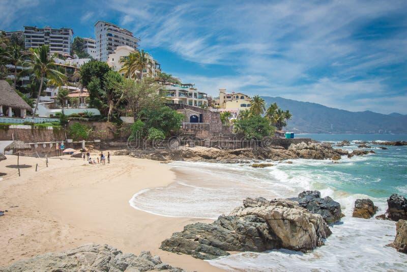 Tropische toevlucht Puerto Vallarta Beste strand in Mexico Vreedzame OceaanMening royalty-vrije stock afbeelding