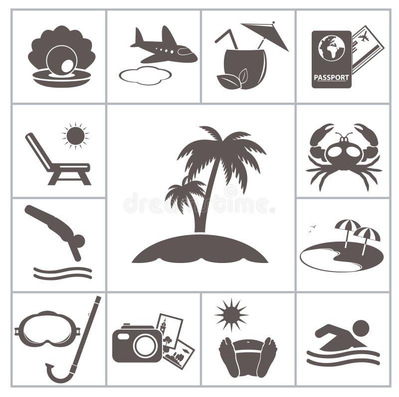 Tropische toevluchtpictogrammen royalty-vrije illustratie