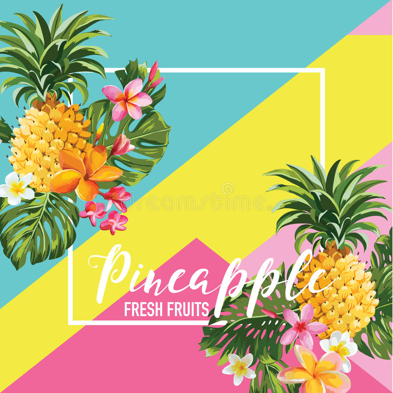 Tropische van Ananasvruchten en Bloemen de Zomerbanner, Grafische Achtergrond, Exotische Bloemenuitnodiging, Vlieger of Kaart vector illustratie
