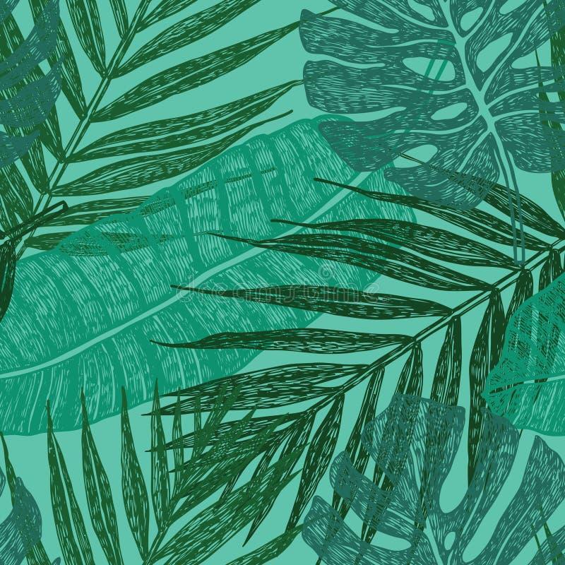 Tropische van het palmbladen Vector naadloze patroon Groene illustratie als achtergrond vector illustratie
