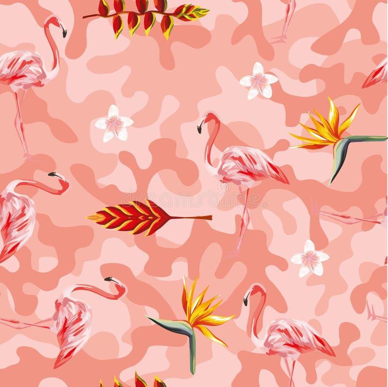 Tropische vector roze camo naadloze achtergrond van de bloemenflamingo vector illustratie