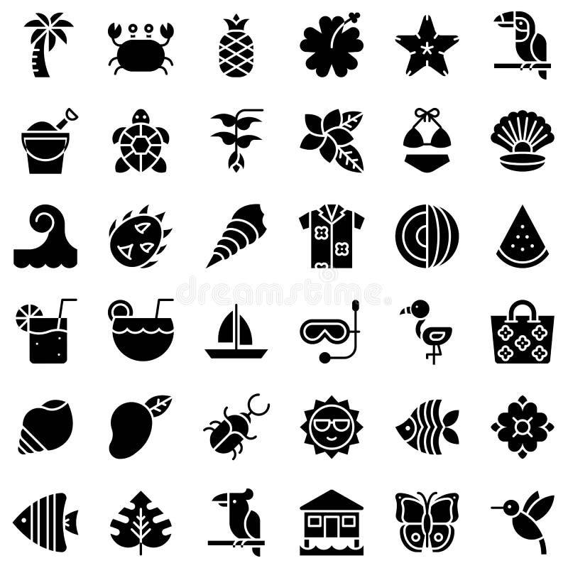 Tropische verwante vectorpictogramreeks, stevige stijl royalty-vrije illustratie