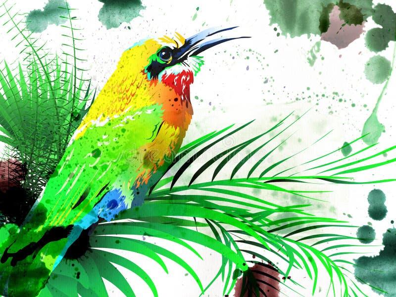 Tropische vogel op een tak royalty-vrije illustratie