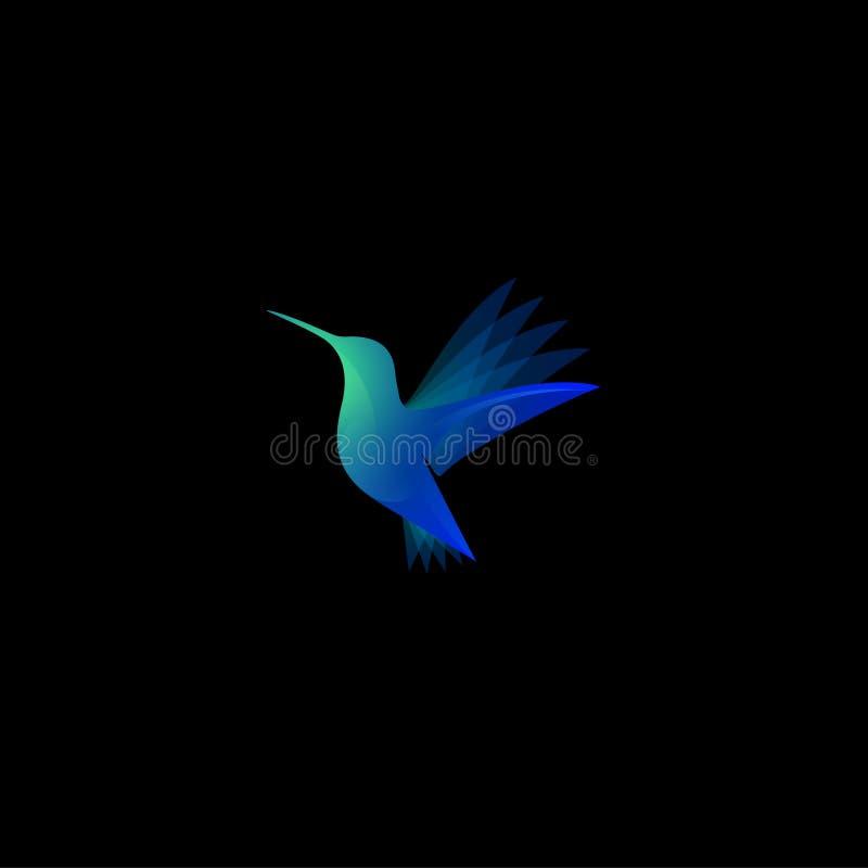 Tropische vogelillustratie Kolibrie of colibrikleuren transparant embleem vector illustratie