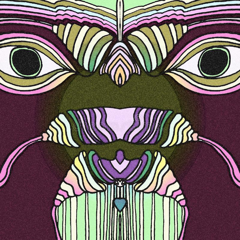 Tropische vogels met grote ogen de samenvatting trekt vector illustratie