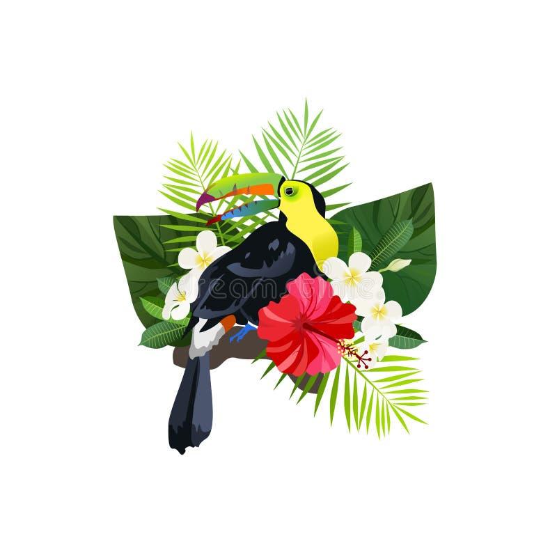 Tropische vogelsamenstelling stock illustratie
