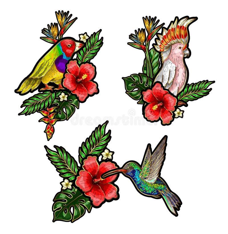 Tropische Vogelstickereiflecken mit Blumen und Blättern Auch im corel abgehobenen Betrag Kolibri, Papagei lizenzfreie abbildung