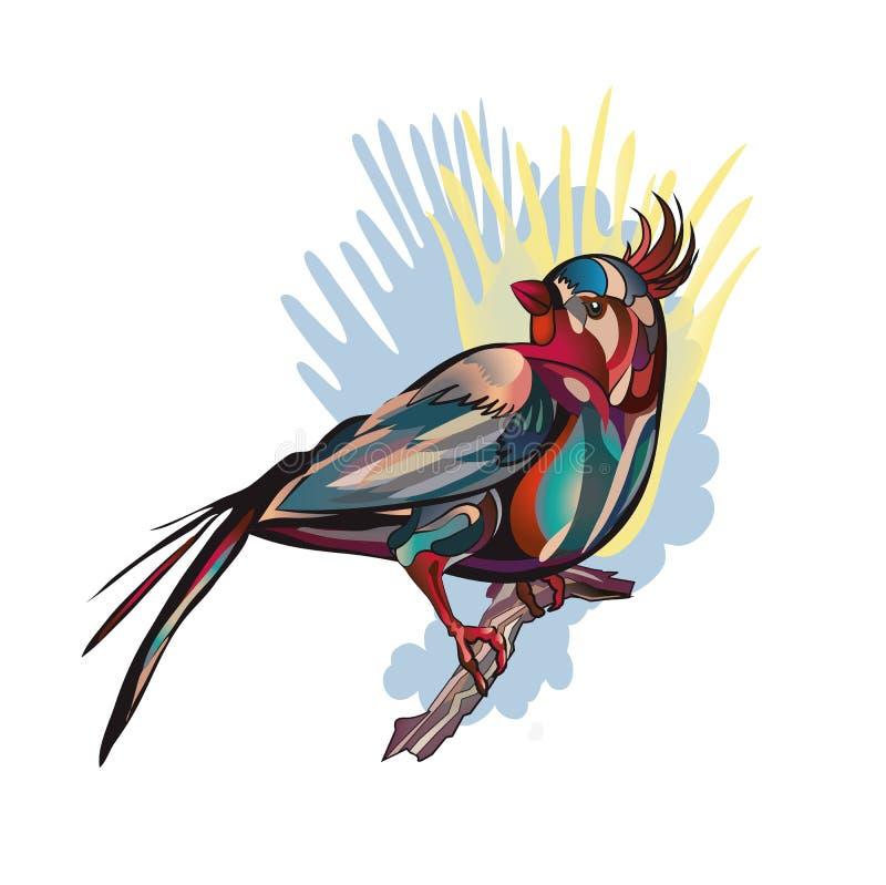 Tropische vogelzitting op een tak royalty-vrije illustratie