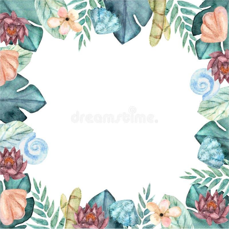 Tropische waterverf bloemenkroon stock illustratie
